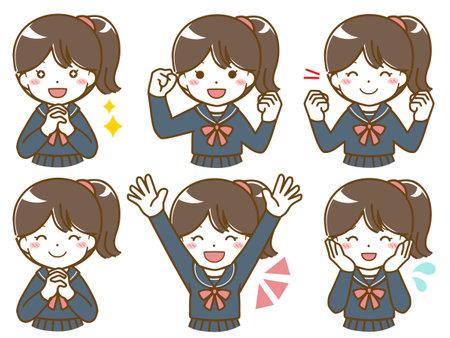 Schoolgirl's Fun Look 向量圖像