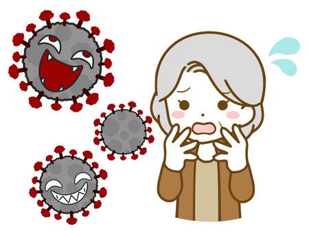 Elderly woman bewildered by virus Illustration