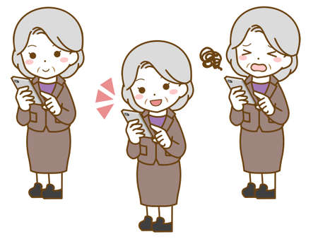 Old woman in suit operating smartphone