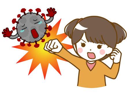 Little girl fighting off virus