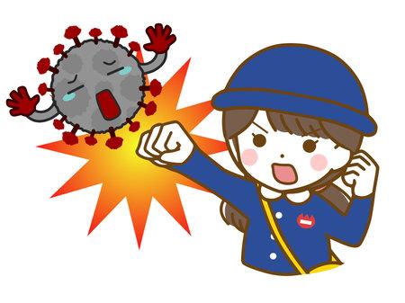 Kindergarten girl fighting off virus