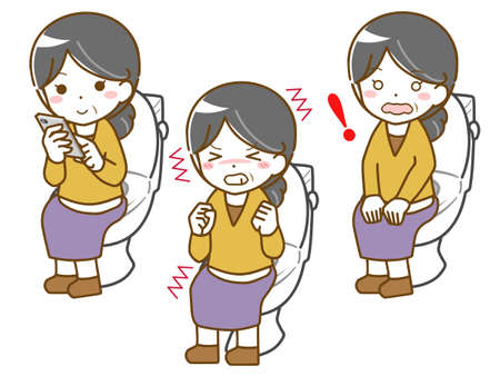 Middle-old woman in toilet Stock Illustratie