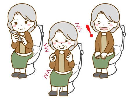 Old woman's in toilet Vektorové ilustrace