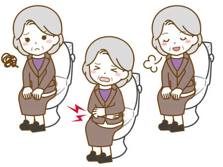 Old woman toilet in suit