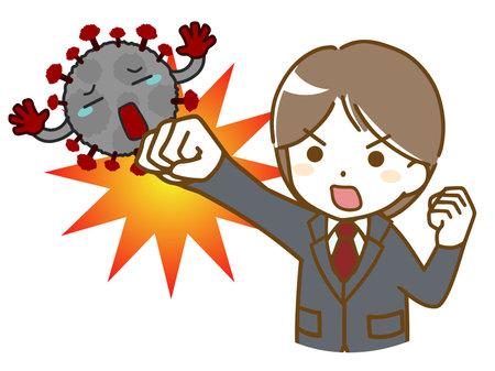 Man in suit fighting off virus Ilustración de vector