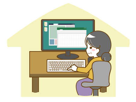 Middle-old woman working on computer at home