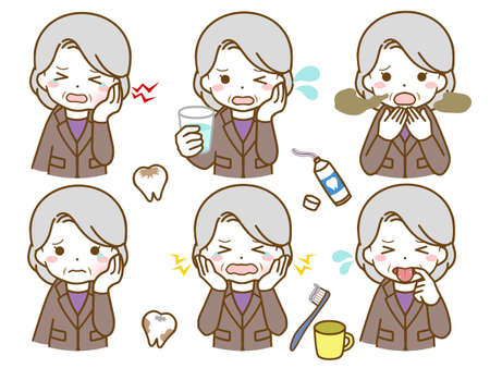 elderly woman in suit with an abnormality in her mouth Vector Illustration