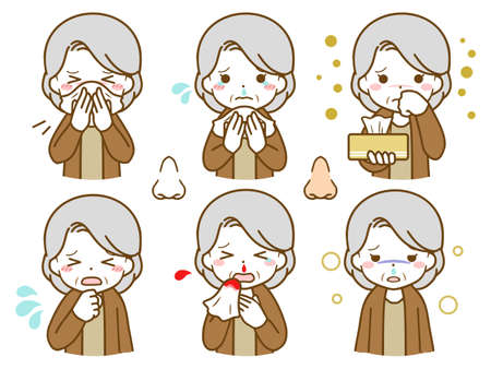 An elderly woman with an abnormality in her nose Vektorové ilustrace