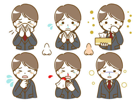 a young man in a suit who has an abnormality in his nose