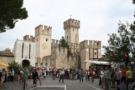 loopholes: scaliger castle in Sirmione Garda lake