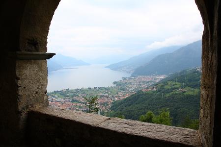 lake como: Lookout over lake como Gravedona