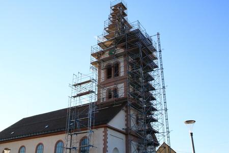 roof framework: St. Catherines Church Baden-Baden Sandweier, renovation, Belltower
