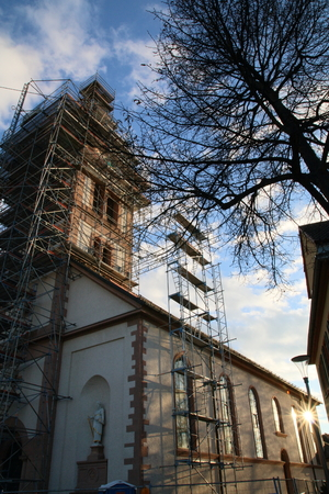 roof framework: St. Catherines Church Baden-Baden Sandweier, renovation, Belltower