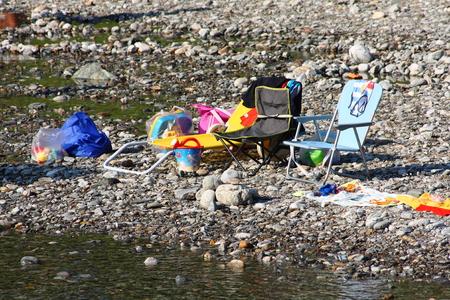 deckchair: deckchair at lakeshore Stock Photo