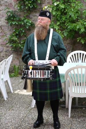 scot: Scotsman with long beard, drum and kilt