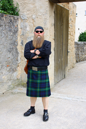 scot: man with beard and kilt long