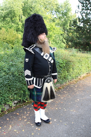 scot: Scotsman with long beard in typical outfit