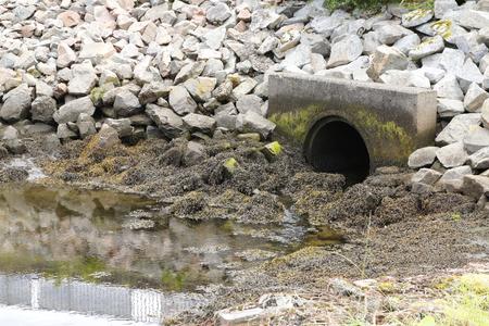drain: drain pipe, sewer in lake, ocean, river