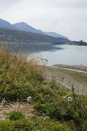 Lake Montespluga, reservoir, in the Spluegen Mountain pass in Italy, Lombardy, in the Cardinello gulch