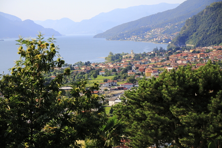 Dongo, municipality of Gravedona in Lake Como, Italy, sea look Imagens
