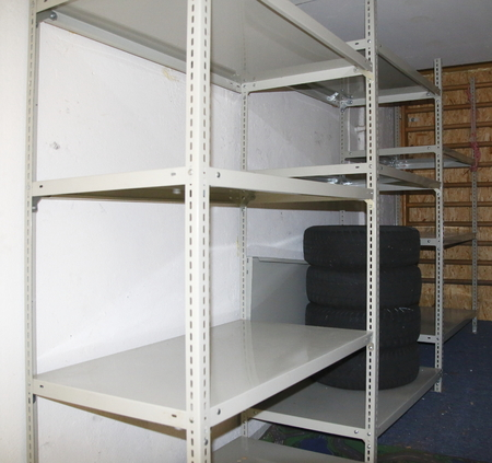 Treacly load shelve from metal in the cellar