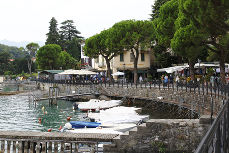 Promenade of Lenno in Lake Como, Italy with market