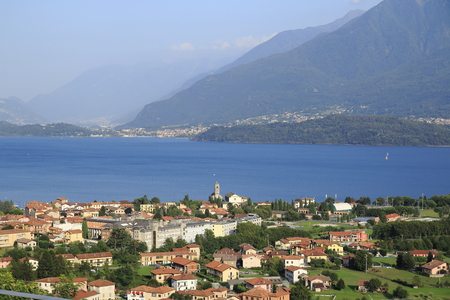 Look over Gravedona to Colico, across Lake Como in Italy, europe