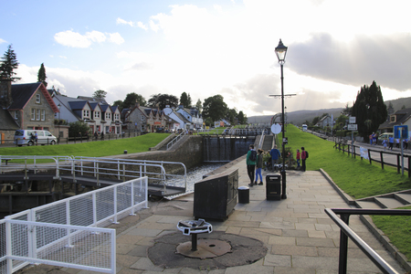 Caledonian, Caledonian Canal with Ships and Watergate, in Scottish Highlands at Loch Ness