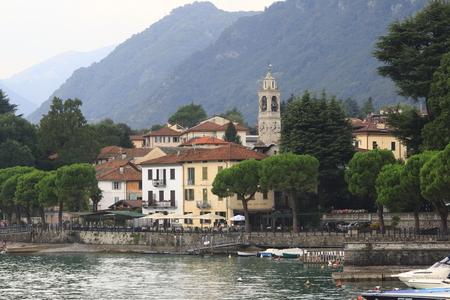 Look at Lenno, town panorama, bench promenade in Lake Como in Italy Archivio Fotografico