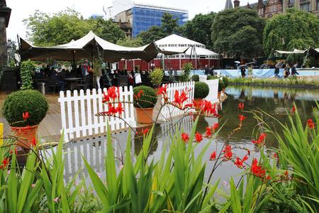 Edinburgh Public Fringe Festival, heres a view of St. Andrews Square Garden