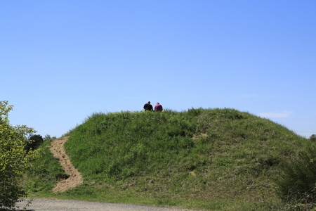 Viewing hill with a man and woman, in the Sandweier sand dunes nature reserve, Baden-Baden, on the Upper Rhine Stock Photo