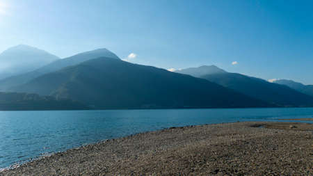 Shore and beach of Dongo, district of Gravedona, overlooking the lake, towards Bellagio