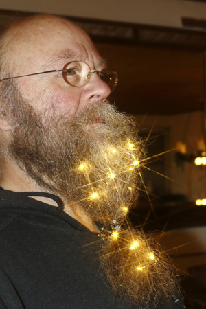 Sparkling stars in his beard