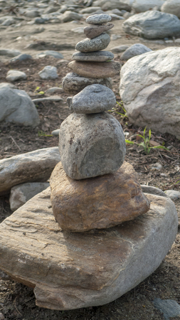 On each other stratified, stacked pebble stones, stones as a meditation
