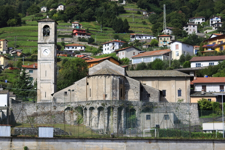 Look at Musso, and the San Biagio church, in upper Lake Como, Stock fotó