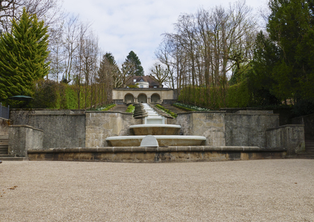 Water paradise, public park with fountain and small waterfall in Baden-Baden
