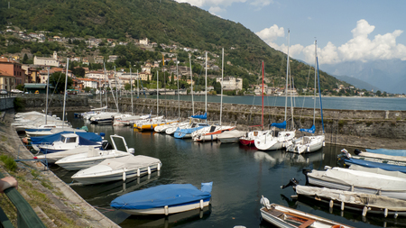Sail boats, in the small harbor of Gravedona, in Lake Como, Italy