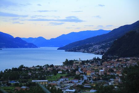 Morning mood, sunrise about Gravedona in Lake Como Stock fotó