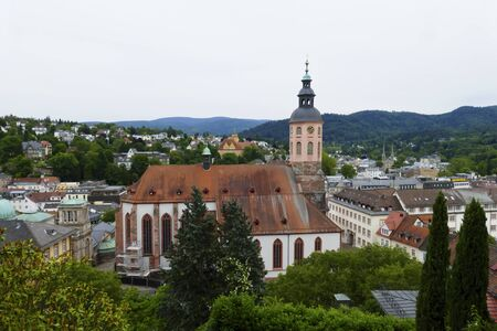 View over Baden-Baden to the old town with catholic collegiate church