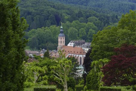 View over Baden-Baden to the old town with catholic collegiate church Stock fotó