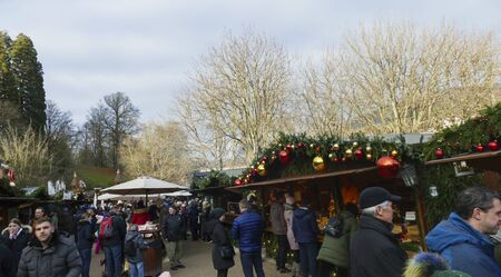 View over the Christmas market, in the public spa gardens, in Baden-Baden