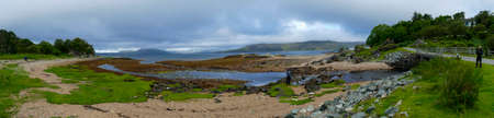 Loch Iceort coast at Ord, Isle of Skye, overlooking the Guillin Mountains 写真素材