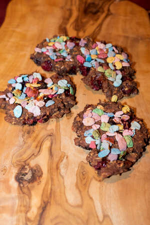 Oatmeal Brownie biscuits, with fruits and colorful flakes