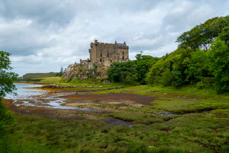 Dunvegan Castle in the mist on the Isle of Skye