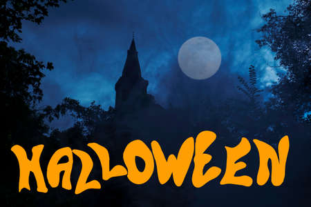 Ghosts, Castle at Full Moon, with the lettering Halloween, in a dark spooky night