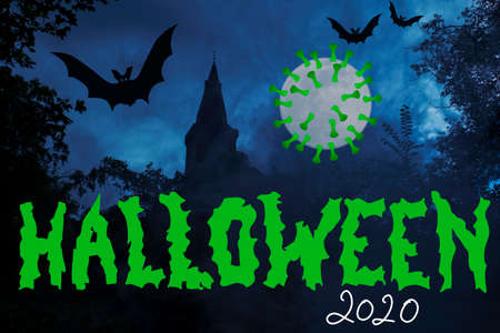 Halloween 2020 with the Covid 19 Virus, Corona full moon 免版税图像