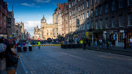 Royal mile from Edinburgh at Fringe festival 13th August 2019