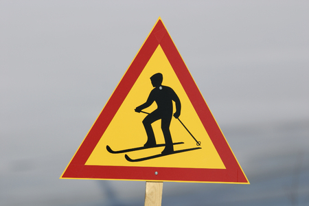 warning signs: Cross country skiing traffic sign Stock Photo