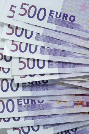multiple targets: 500 euro notes Stock Photo