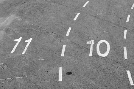 lanes: numbered lanes on tarmac Stock Photo